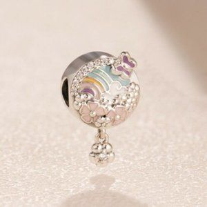 Authentic Pandora Sliver Rainbow and Flower Dangle